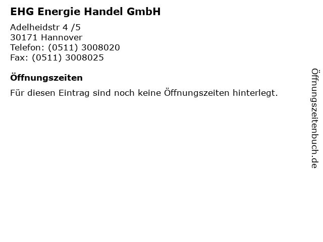 EHG Energie Handel GmbH in Hannover: Adresse und Öffnungszeiten