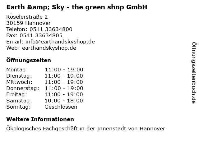 Earth & Sky - the green shop GmbH in Hannover: Adresse und Öffnungszeiten