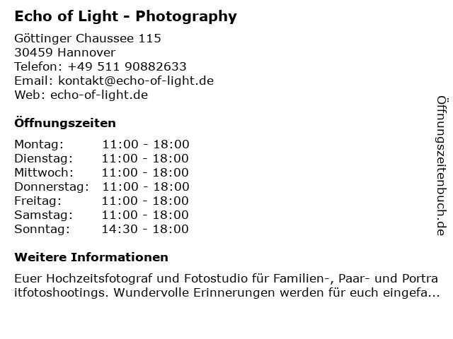 Echo Of Light Photography in Hannover: Adresse und Öffnungszeiten