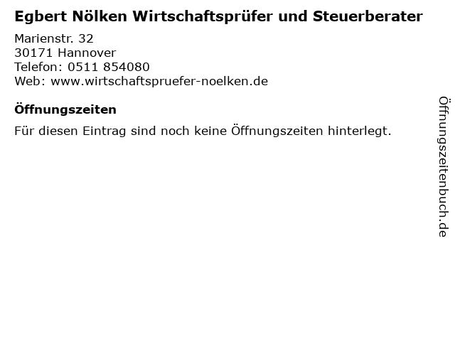Egbert Nölken Wirtschaftsprüfer und Steuerberater in Hannover: Adresse und Öffnungszeiten