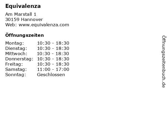 Equivalenza in Hannover: Adresse und Öffnungszeiten