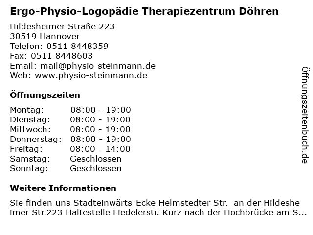 Ergo-Physio-Logopädie Therapiezentrum Döhren in Hannover-Döhren: Adresse und Öffnungszeiten