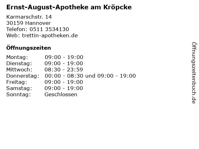 ᐅ öffnungszeiten Ernst August Apotheke Am Kröpcke Karmarschstr