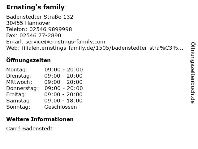 Ernsting's family GmbH & Co. KG in Hannover: Adresse und Öffnungszeiten