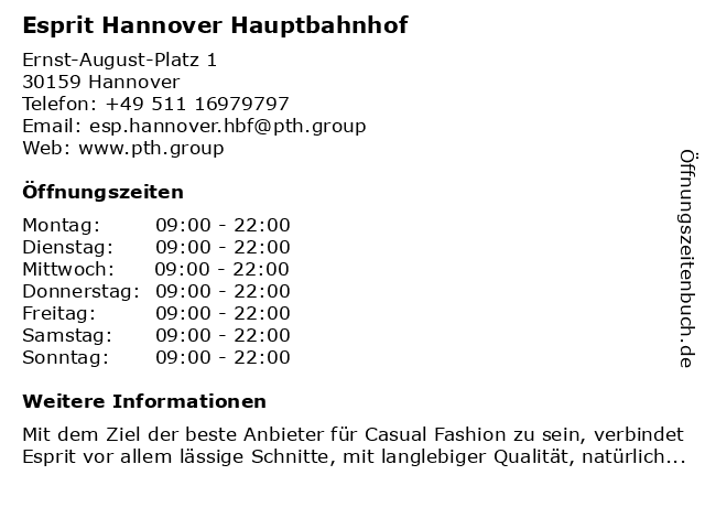 Esprit Hannover Hauptbahnhof in Hannover: Adresse und Öffnungszeiten