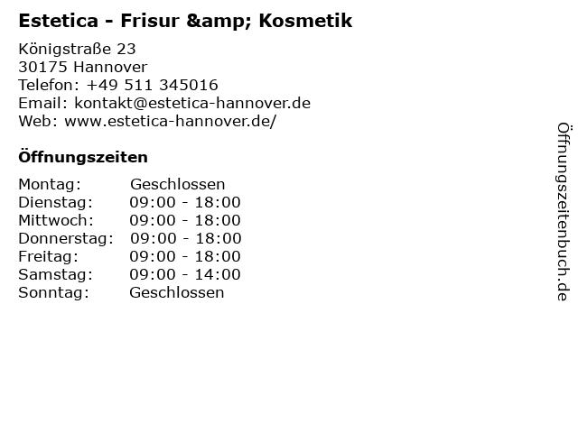 Estetica - Frisur & Kosmetik in Hannover: Adresse und Öffnungszeiten