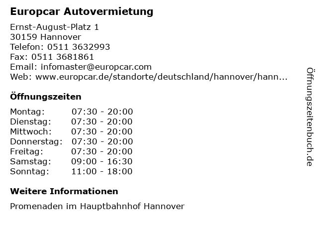Europcar Autovermietung in Hannover: Adresse und Öffnungszeiten