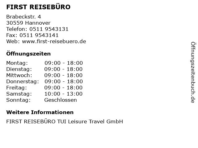 FIRST REISEBÜRO in Hannover: Adresse und Öffnungszeiten