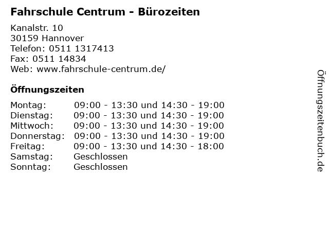 Centrum Fahrschule in Hannover: Adresse und Öffnungszeiten