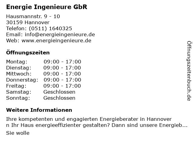 Frank Polzin & Gültekin Kirci Energie Ingenieure GbR in Hannover: Adresse und Öffnungszeiten