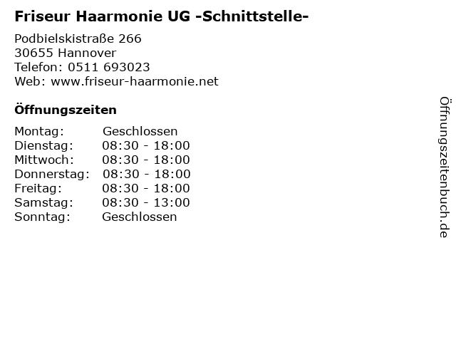 Friseur Haarmonie UG -Schnittstelle- in Hannover: Adresse und Öffnungszeiten