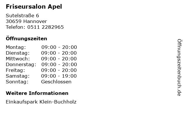 Friseursalon Apel in Hannover: Adresse und Öffnungszeiten