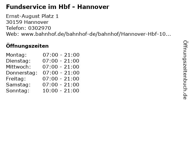 Fundservice im Hbf - Hannover in Hannover: Adresse und Öffnungszeiten
