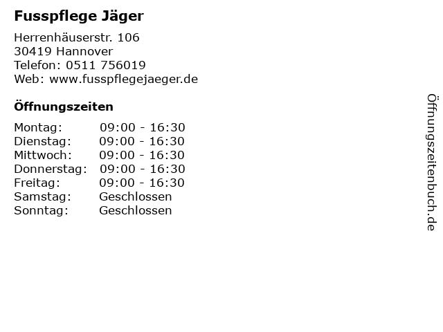 Fusspflege Jäger in Hannover: Adresse und Öffnungszeiten