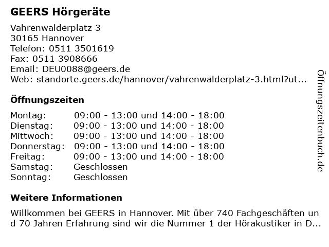 GEERS Hörgeräte in Hannover: Adresse und Öffnungszeiten