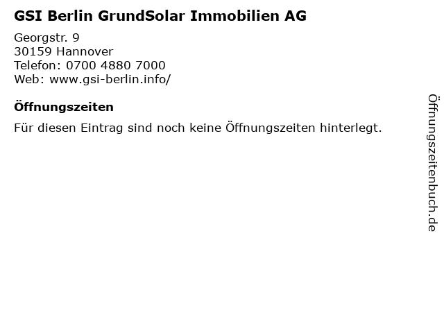 GSI Berlin GrundSolar Immobilien AG in Hannover: Adresse und Öffnungszeiten