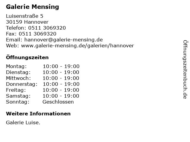 Galerie Mensing in Hannover: Adresse und Öffnungszeiten