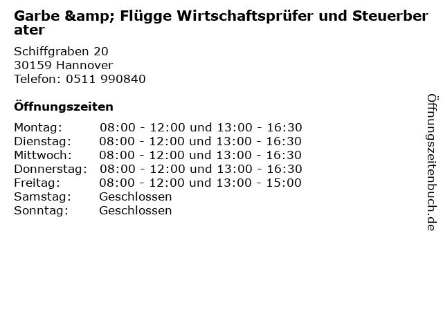Garbe & Flügge Wirtschaftsprüfer und Steuerberater in Hannover: Adresse und Öffnungszeiten