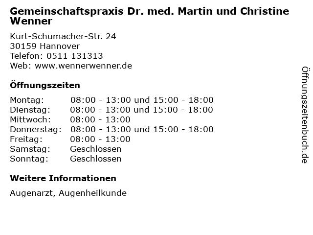 Gemeinschaftspraxis Dr. med. Martin und Christine Wenner in Hannover: Adresse und Öffnungszeiten