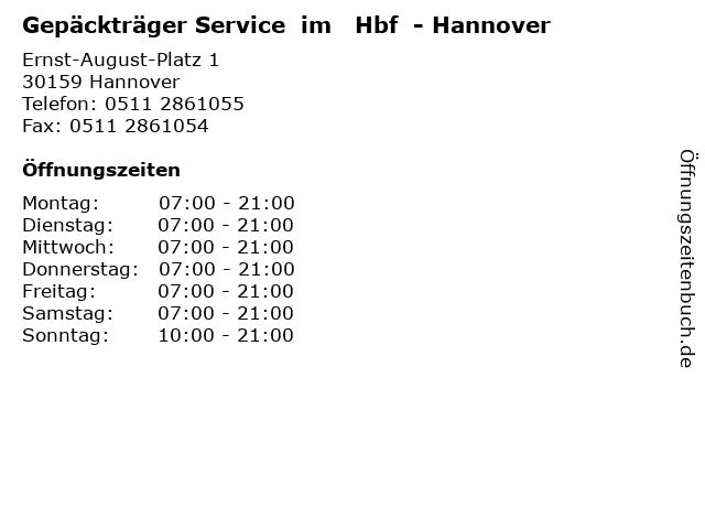 Gepäckträger Service  im   Hbf  - Hannover in Hannover: Adresse und Öffnungszeiten