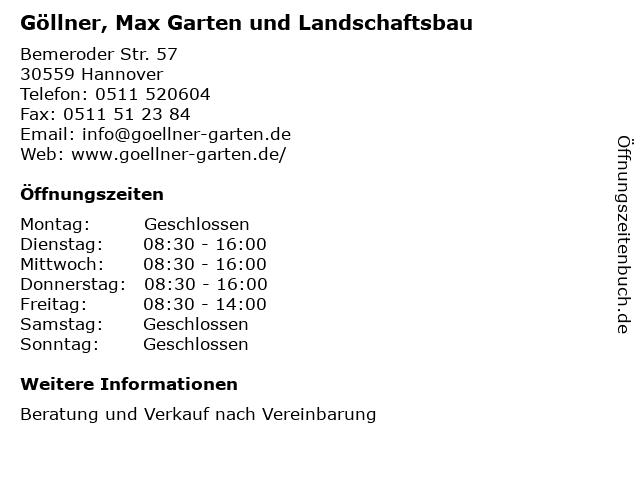 Göllner, Max Garten und Landschaftsbau in Hannover: Adresse und Öffnungszeiten