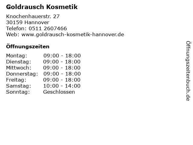 Goldrausch Kosmetik in Hannover: Adresse und Öffnungszeiten