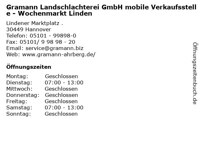 Gramann Landschlachterei GmbH mobile Verkaufsstelle - Wochenmarkt Linden in Hannover: Adresse und Öffnungszeiten