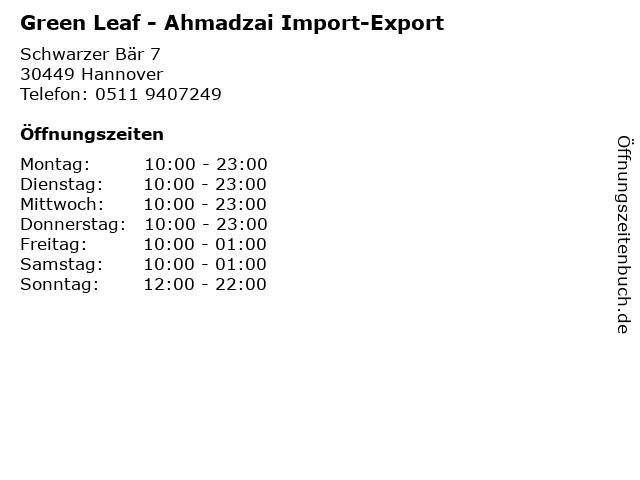 Green Leaf - Ahmadzai Import-Export in Hannover: Adresse und Öffnungszeiten