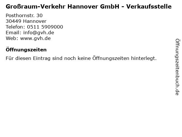 Großraum-Verkehr Hannover GmbH - Verkaufsstelle in Hannover: Adresse und Öffnungszeiten