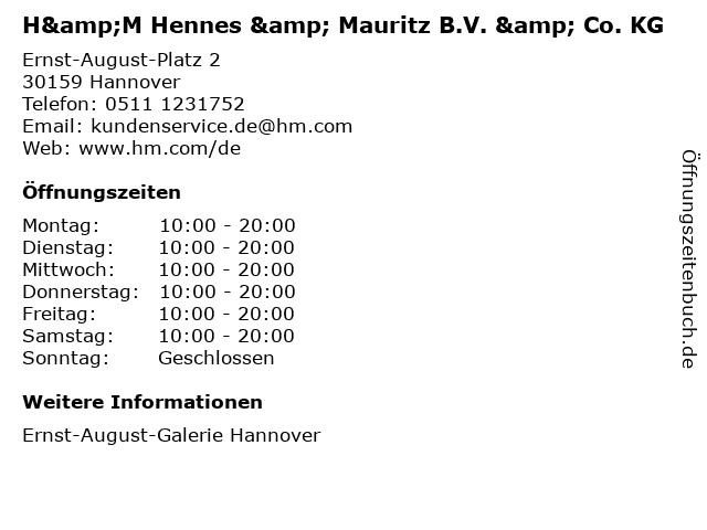 H&M Hennes & Mauritz B.V. & Co. KG in Hannover: Adresse und Öffnungszeiten