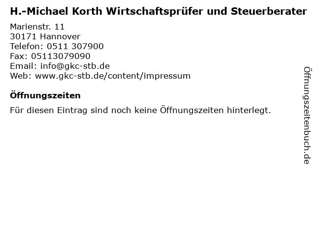 H.-Michael Korth Wirtschaftsprüfer und Steuerberater in Hannover: Adresse und Öffnungszeiten