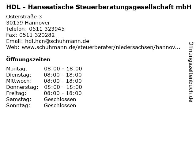HDL - Hanseatische Steuerberatungsgesellschaft mbH in Hannover: Adresse und Öffnungszeiten