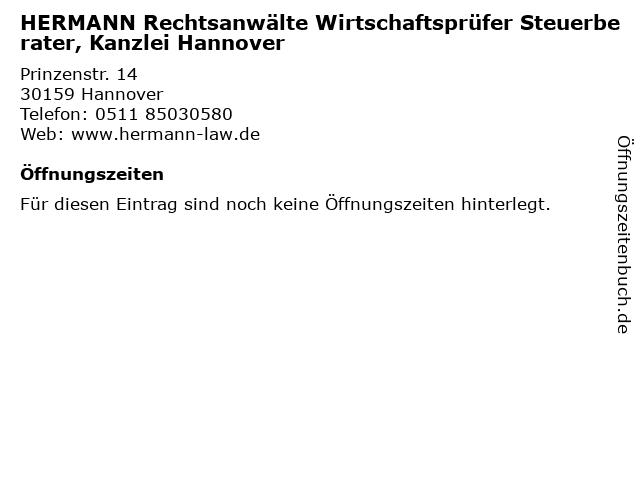 HERMANN Rechtsanwälte Wirtschaftsprüfer Steuerberater, Kanzlei Hannover in Hannover: Adresse und Öffnungszeiten