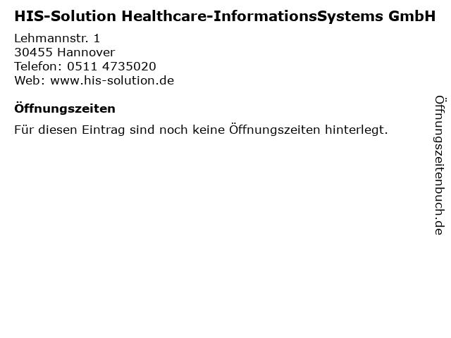 HIS-Solution Healthcare-InformationsSystems GmbH in Hannover: Adresse und Öffnungszeiten