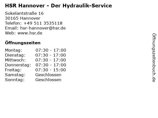 HSR Der Hydraulik-Service in Hannover: Adresse und Öffnungszeiten