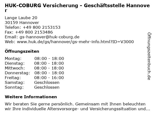HUK-COBURG Versicherung - Geschäftsstelle Hannover in Hannover: Adresse und Öffnungszeiten
