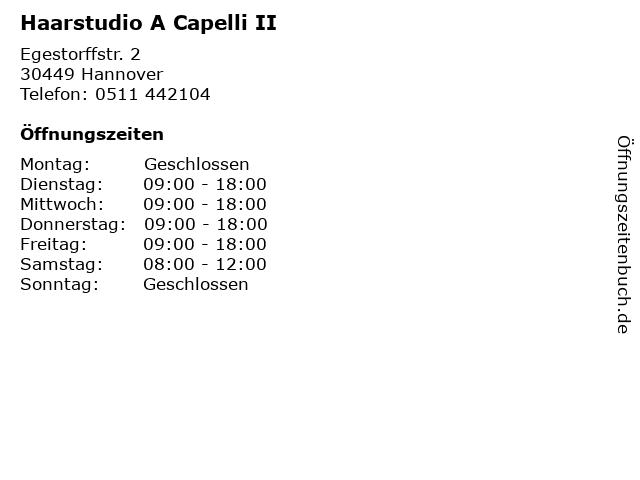 Haarstudio A Capelli II in Hannover: Adresse und Öffnungszeiten