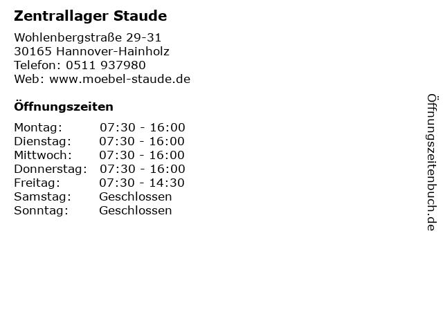 ᐅ Offnungszeiten Zentrallager Staude Wohlenbergstrasse 29 31 In