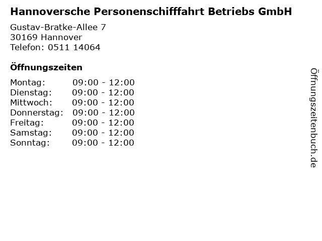 Hannoversche Personenschifffahrt Betriebs GmbH in Hannover: Adresse und Öffnungszeiten