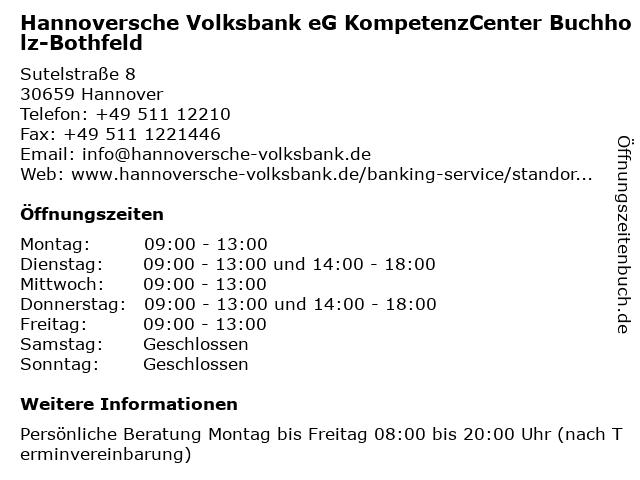 Hannoversche Volksbank eG KompetenzCenter Buchholz-Bothfeld in Hannover: Adresse und Öffnungszeiten