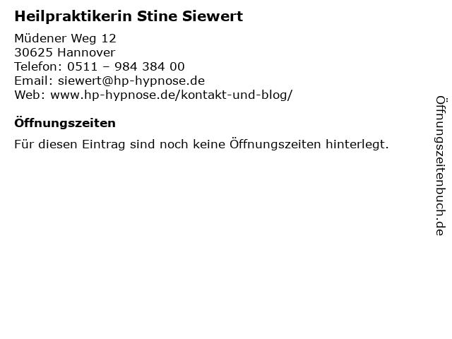 Heilpraktikerin Stine Siewert in Hannover: Adresse und Öffnungszeiten