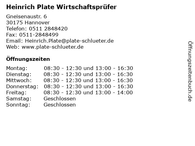 Heinrich Plate Wirtschaftsprüfer in Hannover: Adresse und Öffnungszeiten