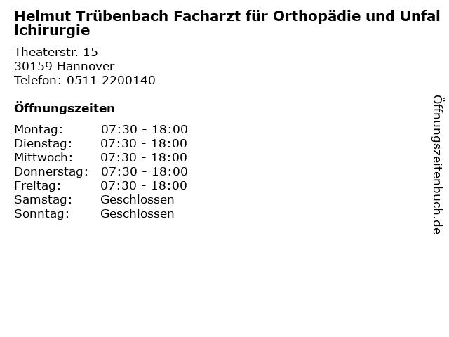 Helmut Trübenbach Facharzt für Orthopädie und Unfallchirurgie in Hannover: Adresse und Öffnungszeiten