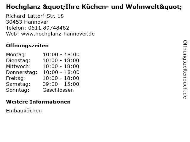 """ᐅ Öffnungszeiten """"Hochglanz \"""