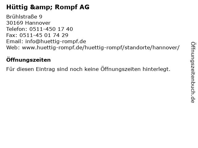 Hüttig & Rompf AG in Hannover: Adresse und Öffnungszeiten