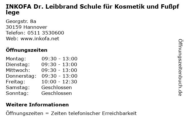 INKOFA Dr. Leibbrand Schule für Kosmetik und Fußpflege in Hannover: Adresse und Öffnungszeiten
