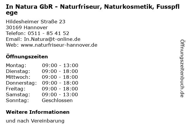 In Natura GbR - Naturfriseur, Naturkosmetik, Fusspflege in Hannover: Adresse und Öffnungszeiten