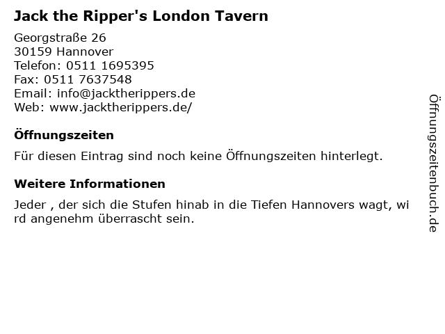 Jack the Ripper's London Tavern in Hannover: Adresse und Öffnungszeiten