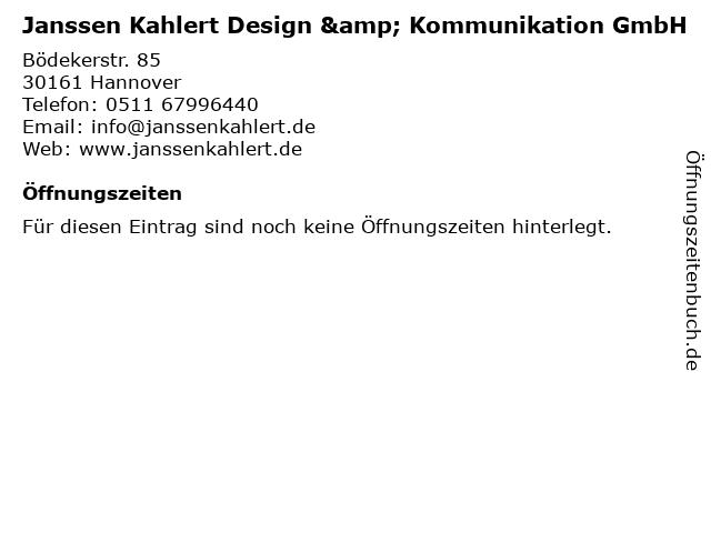 Janssen Kahlert Design & Kommunikation GmbH in Hannover: Adresse und Öffnungszeiten