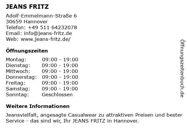 Jeans Fritz in Hannover: Adresse und Öffnungszeiten